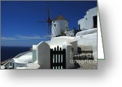 Thelightscene Greeting Cards - Windmill Mykonos 2 Greeting Card by Bob Christopher