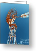Old Mills Greeting Cards - Windmill Rust orange with blue sky Greeting Card by Rebecca Margraf