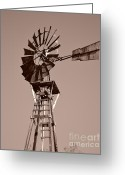 Gray Sky Greeting Cards - Windmill Sepia Greeting Card by Rebecca Margraf