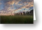 New England Sunset Greeting Cards - Windmill Sunset Greeting Card by Bill  Wakeley