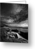 White Clouds Greeting Cards - WindNsea Light Found BW Greeting Card by Peter Tellone