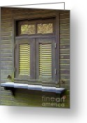 Log House Greeting Cards - Window and moss Greeting Card by Carlos Caetano