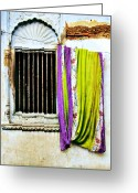 Wall Street Greeting Cards - Window and Sari Greeting Card by Derek Selander