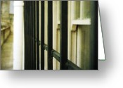 Pdx Art Greeting Cards - Window bars Greeting Card by Cathie Tyler