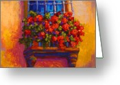 Autumn Painting Greeting Cards - Window Box  Greeting Card by Marion Rose