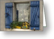 Blue House Greeting Cards - Window Clutter Greeting Card by Sophie De Roumanie