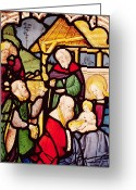 Balthasar Greeting Cards - Window depicting the Adoration of the Magi Greeting Card by French School