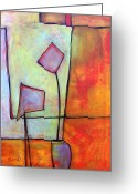 Warm Painting Greeting Cards - Window Dressing Greeting Card by Blenda Tyvoll