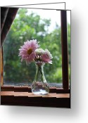 Flower Still Life Prints Greeting Cards - Window Flowers Greeting Card by Laurinda Bowling