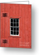 Hinge Greeting Cards - Window in Red Wall Greeting Card by Sabrina L Ryan