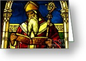 Stained Glass Glass Art Greeting Cards - Window of Saint Agustine Greeting Card by Pg Reproductions
