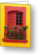 Residential Photo Greeting Cards - Window on Mexican house Greeting Card by Elena Elisseeva