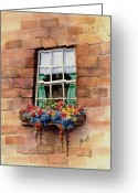 Bricks Greeting Cards - Window Greeting Card by Sam Sidders