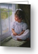 Janet Mcgrath Greeting Cards - Window Seat Greeting Card by Janet McGrath