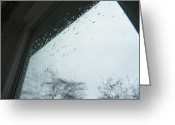 Dreary Greeting Cards - Window View of Sandy Storm Greeting Card by Judy Via-Wolff