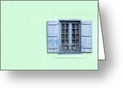 Curtain Greeting Cards - Window with copy space Greeting Card by Jane Rix