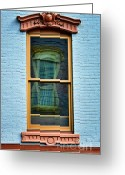 Merged Greeting Cards - Windows In Windows In Red Bank Greeting Card by Gary Slawsky