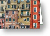 Clothesline Greeting Cards - Windows of Camogli Greeting Card by Joana Kruse