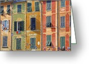 Rowing Greeting Cards - Windows of Portofino Greeting Card by Joana Kruse