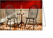 Wood Photo Greeting Cards - Windsor Chairs Greeting Card by Olivier Le Queinec