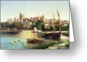 Swans Painting Greeting Cards - Windsor from the Thames   Greeting Card by Robert W Marshall
