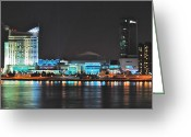 Detroit Photography Greeting Cards - Windsor Night Skyline 0915 Greeting Card by Michael Peychich