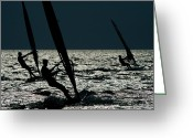 Silhouettes Greeting Cards - Windsurfing At Cape Hatteras National Greeting Card by Raymond Gehman
