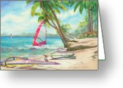 Dominican Greeting Cards - Windsurfing the Tropics Greeting Card by Marguerite Chadwick-Juner
