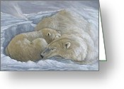 Bears Painting Greeting Cards - Windswept - Polar Bears Greeting Card by Patricia Mansell