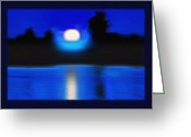 St Lawrence River Mixed Media Greeting Cards - Windswept Moonrise  Greeting Card by Steve Ohlsen