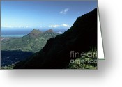 1984 Greeting Cards - Windward Oahu from the Koolau Mountains Greeting Card by Thomas R Fletcher