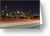 March Greeting Cards - Windy City Fast Lane Greeting Card by CJ Schmit