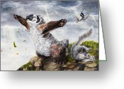 Sparrow Greeting Cards - Windy Day Greeting Card by Beth Davies