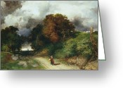 Woman Figure Greeting Cards - Windy Hilltop Greeting Card by Thomas Moran