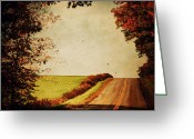 Fall Scene Greeting Cards - Windy Journey Greeting Card by Emily Stauring