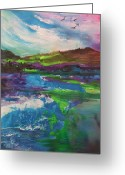Landscape Glass Art Greeting Cards - Windy MorningThe BurrenCoClare Ireland Greeting Card by Joyce Garvey