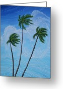 Cuban Painter Greeting Cards - Windy Palms Greeting Card by Juan Alcantara