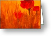 Flower Photographs Painting Greeting Cards - Windy Red Greeting Card by Julie Lueders