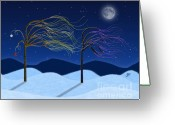 Willows Digital Art Greeting Cards - Windy Willows On Christmas Eve Greeting Card by Jules Sartain