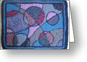 Blues Tapestries - Textiles Greeting Cards - Wine and Blues Greeting Card by Maureen McIlwain
