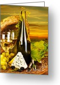 Outdoor Still Life Greeting Cards - Wine and cheese romantic dinner outdoor Greeting Card by Anna Omelchenko
