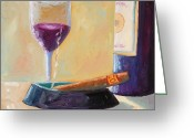 Wine Bottle Prints Greeting Cards - Wine and Cigar Greeting Card by Todd Bandy