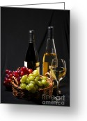 Clear Glass Greeting Cards - Wine and grapes Greeting Card by Elena Elisseeva