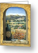 Tranquility Greeting Cards - Wine And Poppies Greeting Card by Marilyn Dunlap