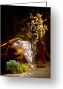 Glass Greeting Cards - Wine and Romance Greeting Card by Tom Mc Nemar