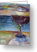 The Cocktail Hour Greeting Cards - WINE and WATER Greeting Card by Allison  Adams