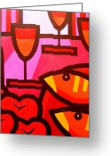 Wine Bottle Prints Greeting Cards - Wine Apples Fish Greeting Card by John  Nolan