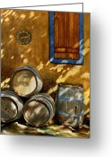 Wine Greeting Cards - Wine Barrels Greeting Card by Karen Fleschler