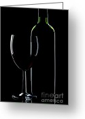Cabernet Sauvignon Greeting Cards - Wine bottle and glass Greeting Card by Richard Thomas