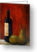 Two Pears Greeting Cards - Wine Bottle and Two Pears Greeting Card by Rosie Phillips
